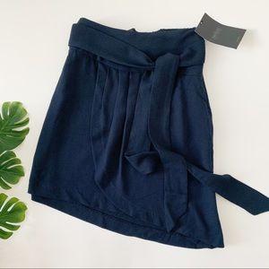 Zara Trafaluc Asymmetrical Skirt with tie in navy